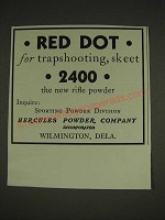 1934 Hercules Powder Company Red Dot Powder Ad - Red dot for trapshooting skeet