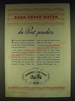 1935 Du Pont Sporting Powder Ad - Born under water du Pont powders