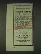 1935 J.W. Fecker scopes Ad - The predominating choice of shooters