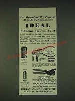 1935 Lyman Ideal Reloading Tools Ad - No. 3 and Single Bullet Mould