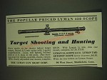 1935 Lyman 438 Scope Ad - Target Shooting  and Hunting