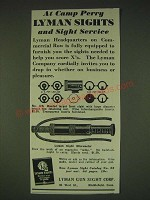 1935 Lyman 17A Sight and Sight Micrometer Ad - At Camp Perry