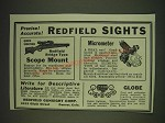 1935 Redfield Sights Ad - Micrometer, Globe and Bridge Type Scope Mount