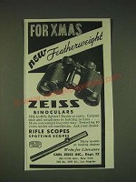 1935 Zeiss Featherweight Binoculars Ad - For Xmas