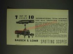 1936 Bausch & Lomb N.R.A. Spotting Scope Ad - 7 out of every 10 international
