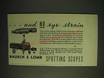 1936 Bausch & Lomb N.R.A. Spotting Scope Ad - and no eye strain