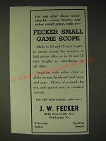 1936 J.W. Fecker Small Game Scope Ad - Get out after those woodchucks, crows