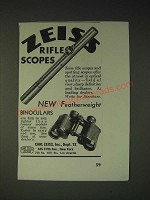 1936 Carl Zeiss Rifle Scopes and Featherweight Binoculars Ad