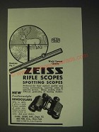 1936 Carl Zeiss Rifle Scopes & Featherweight Binoculars Ad