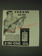 1936 3-in-One Oil Ad - Cleans guns