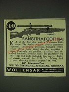 1936 Wollensak Rifle Scopes Ad - Bang! That got him!