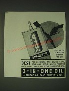 1937 3-in-One oil Ad - 3-in-one oil is a blend of three fine oils