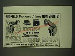 1938 Redfield Sights Ad - Micrometer Receiver, Front, Adjustable Sporting Rear
