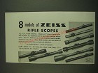 1938 Zeiss Rifle Scopes Ad - 8 models of Zeiss Rifle Scopes