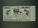 1939 Redfield Sights Ad - No. 100, 102 and Detachable Target Front Sights