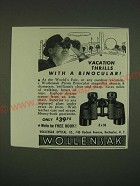 1939 Wollensak Prism Binocular Ad - Vacation thrills with a binocular