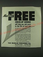 1942 Marlin firearms Ad - Marlin's Free check-up service will help you