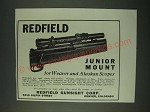 1942 Redfield Junior Mount Ad - for Weaver and Alaskan