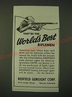 1942 Redfield Gunsight Corp. Ad - They're the world's best riflemen