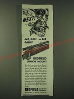1945 Redfield Junior Scope Mount Ad - Next! Jap, Nazi… or Big Game!