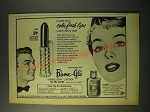 1955 Flame-Glo Triple-Stay Lipstick and Liquid Rouge Ad