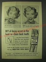 1955 Squibb Angle Toothbrush Ad - 80% of decay occurs in the hard-to-clean back
