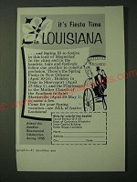1955 Louisiana Tourism Ad - It's Fiesta Time in Louisiana