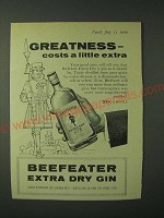 1960 Beefeater Gin Ad - Greatness - costs a little extra