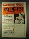 1943 Pyrex Electrical Coil Forms Ad - Starting today Pay up to 47% less