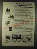 1943 Mallory Electronic Products Ad - Mallory distributors can save you time