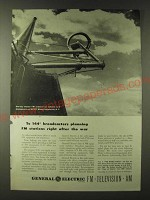 1943 GE General Electric One-Bay Circular FM Antenna Ad - To 144 broadcasters