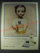 1958 Yardley Lavender Ad - Featuring Madame Alexander Doll