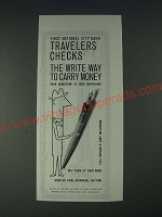 1958 First National City Bank Travelers Checks Ad