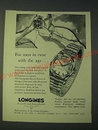 1958 Longines Silver Arrow Watch Ad - For men in tune with the age…