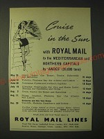 1958 Royal Mail Lines Ad - Cruise in the Sun