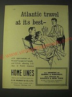 1958 Home Lines Cruise Ad - Atlantic travel at its best