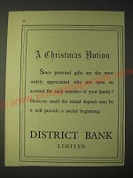 1958 District Bank Limited Ad - A Christmas notion