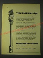 1958 National Provincial Bank Ad - This Electronic Age
