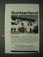 1958 Switzerland Tourism Ad - Switzerland Flag Swinging
