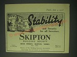 1958 Skipton Building Society Ad - Stability and Security for all Investors