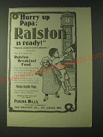 1900 Purina Mills Ralston Breakfast Food Ad - Hurry up Papa: Ralston is ready