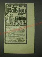 1900 Purina Mills Ralston Breakfast Food Ad - Say! Everybody likes Ralston