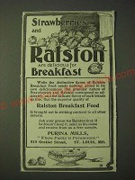 1900 Purina Mills Ralston Breakfast Food Ad - Strawberries and Ralston