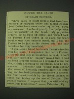 1900 Postum Food Coffee Ad - Coffee the cause of heart trouble
