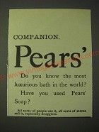 1900 Pears' soap Ad - Pears' Do you know the most luxurious bath in the world?