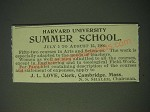 1900 Harvard University Ad - Summer School July 5 to August 15