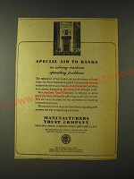 1943 Manufacturers Trust Company Ad - Special aid to banks in solving wartime