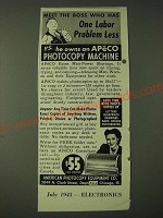 1943 APECO American Photocopy Equipment Co. Photocopy machine Ad