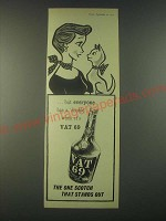 1959 Vat 69 Scotch Ad - Everyone has a double - Cat
