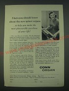 1959 Conn Organ Ad - 3 facts you should know about the new spinet organs